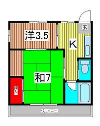 黄金マンション[2階]の間取り