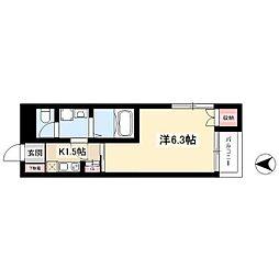 名古屋市営東山線 岩塚駅 徒歩17分の賃貸アパート 3階1Kの間取り