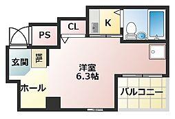 ライオンズマンション上六第三[5階]の間取り