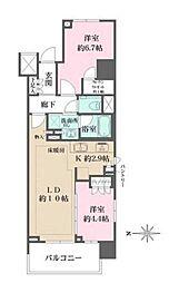 ザ パークハウスアーバンス渋谷 4階2LDKの間取り