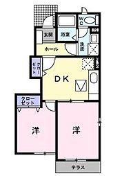 井原鉄道 早雲の里荏原駅 徒歩24分の賃貸アパート 1階2DKの間取り