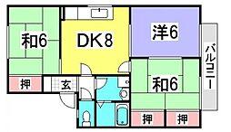 広島県広島市佐伯区皆賀4丁目の賃貸アパートの間取り