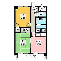 ロワII森田町[4階]の間取り
