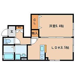 静岡県焼津市柳新屋の賃貸アパートの間取り