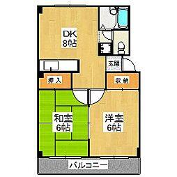 大阪府堺市美原区菩提の賃貸マンションの間取り