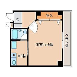 奈良県奈良市宝来1丁目の賃貸マンションの間取り