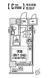 クラリッサ横浜フロード 5階ワンルームの間取り