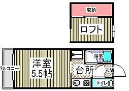 パピヨン2[102号室]の間取り