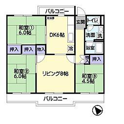公団若葉台第二住宅[404号室]の間取り