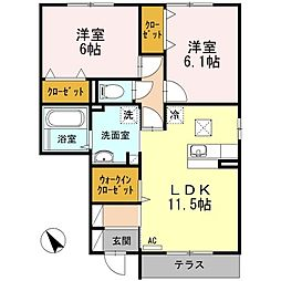 ハイネスCDFE D[1階]の間取り
