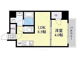 Osaka Metro御堂筋線 江坂駅 徒歩8分の賃貸マンション 4階1LDKの間取り