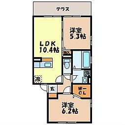 長崎県諫早市栄田町の賃貸アパートの間取り