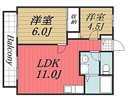千葉県千葉市中央区椿森3丁目の賃貸アパートの間取り
