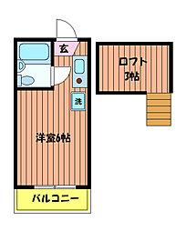 東京都日野市大字川辺堀之内の賃貸アパートの間取り