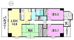 サーパス土居田西[311 号室号室]の間取り