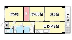 ベルコモン神戸[502号室]の間取り