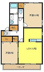 愛知県名古屋市天白区梅が丘5丁目の賃貸アパートの間取り