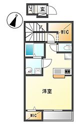 愛知県名古屋市中川区打出町字江西の賃貸アパートの間取り