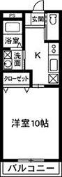ハイツフレンド鶴光路[1−B号室]の間取り