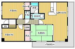 新潟県新潟市西区上新栄町1丁目の賃貸マンションの間取り