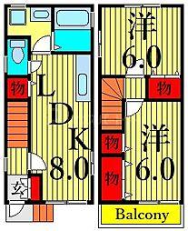 JR総武線 浅草橋駅 徒歩7分の賃貸テラスハウス 2階2DKの間取り
