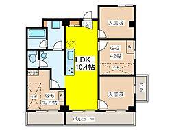 東京都府中市分梅町3丁目の賃貸マンションの間取り