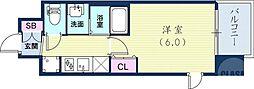 EC三宮EASTIVザ・フロント 13階1Kの間取り