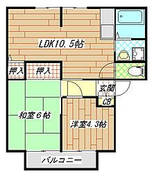 玉串町東2 ジョイフルコンフォート[201号室]の間取り