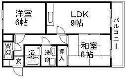兵庫県宝塚市泉ガ丘の賃貸アパートの間取り