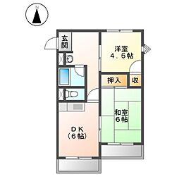 ニュ−オ−クルビル[4階]の間取り