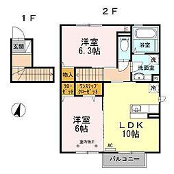 アンソレイエII[2階]の間取り