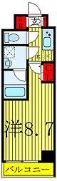 S-RESIDENCE赤羽 6階1Kの間取り
