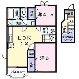 メルベーユⅢ[2階]の間取り