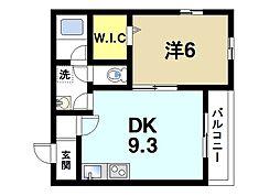 Alce田原本 1階1DKの間取り
