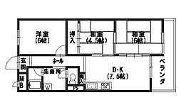 サンコーポ安井[2B号室]の間取り