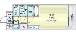 コンフォリア江坂広芝町 6階ワンルームの間取り