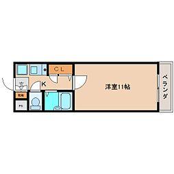 近鉄大阪線 関屋駅 徒歩3分の賃貸マンション 3階1Kの間取り