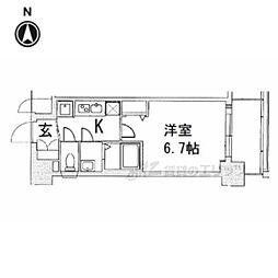 京都市営烏丸線 十条駅 徒歩5分の賃貸マンション 1階1Kの間取り