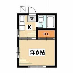 東京都目黒区碑文谷6丁目の賃貸アパートの間取り