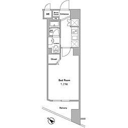 都営大江戸線 牛込神楽坂駅 徒歩5分の賃貸マンション 5階1Kの間取り