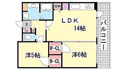 プレジール三ノ宮2[10階]の間取り