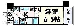 プレサンス神戸元町 8階1Kの間取り