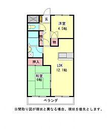 愛知県一宮市北今字葭山の賃貸アパートの間取り