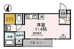神戸市西神・山手線 伊川谷駅 徒歩6分の賃貸アパート 2階ワンルームの間取り
