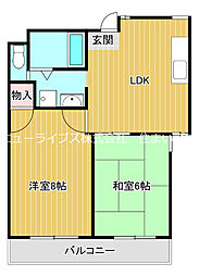 京阪本線 古川橋駅 徒歩22分の賃貸マンション 5階2LDKの間取り