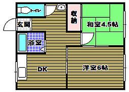 宮崎マンション 1階2DKの間取り