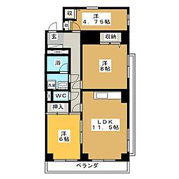 ヒルズ M1[4階]の間取り