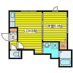 北海道札幌市東区伏古十四条4丁目の賃貸アパートの間取り