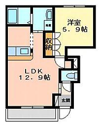 マーチブラウンI[1階]の間取り