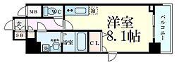 BPRレジデンス江坂 3階ワンルームの間取り